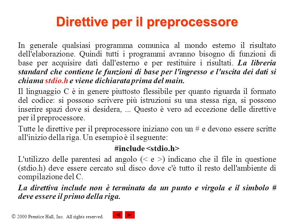 2000 Prentice Hall, Inc. All rights reserved. Direttive per il preprocessore In generale qualsiasi programma comunica al mondo esterno il risultato de