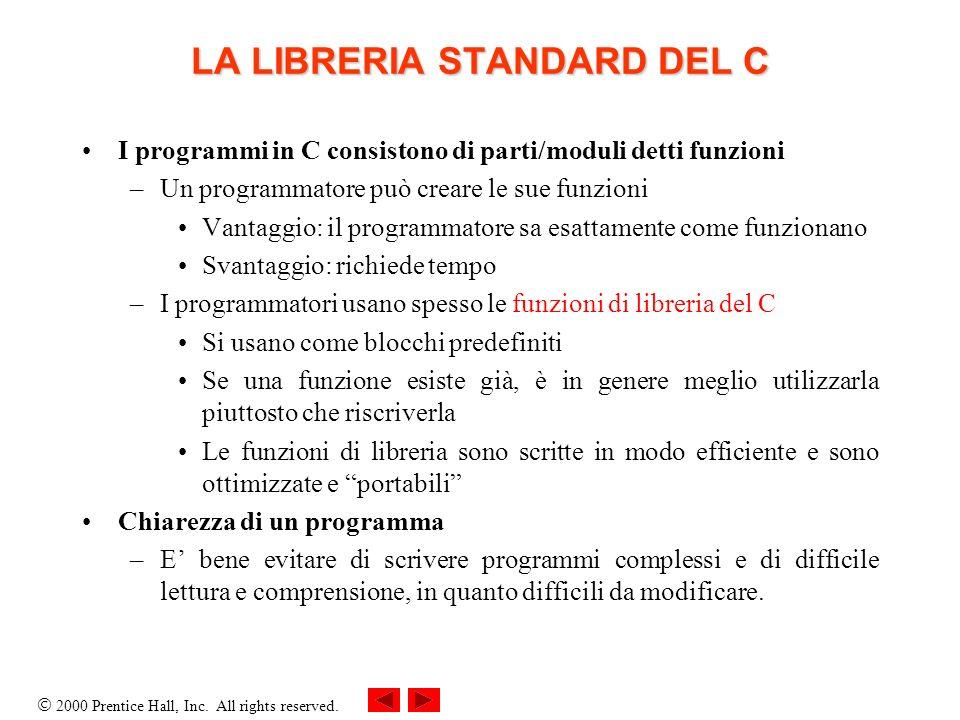 2000 Prentice Hall, Inc. All rights reserved. LA LIBRERIA STANDARD DEL C I programmi in C consistono di parti/moduli detti funzioni –Un programmatore