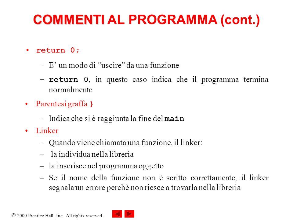 2000 Prentice Hall, Inc. All rights reserved. COMMENTI COMMENTI AL PROGRAMMA (cont.) return 0; –E un modo di uscire da una funzione –return 0, in ques