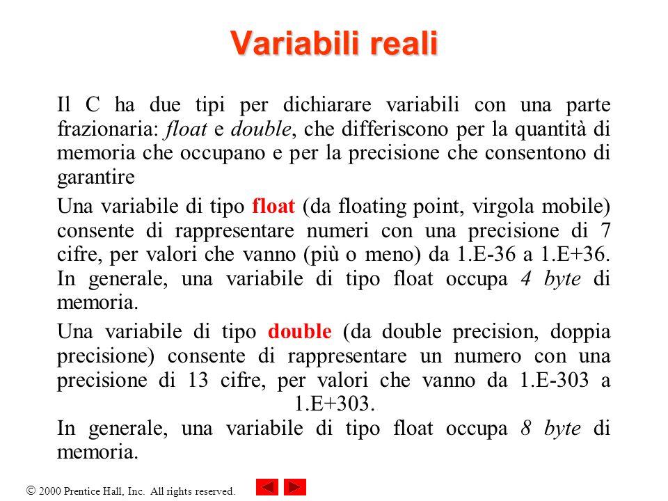 2000 Prentice Hall, Inc. All rights reserved. Variabili reali Il C ha due tipi per dichiarare variabili con una parte frazionaria: float e double, che