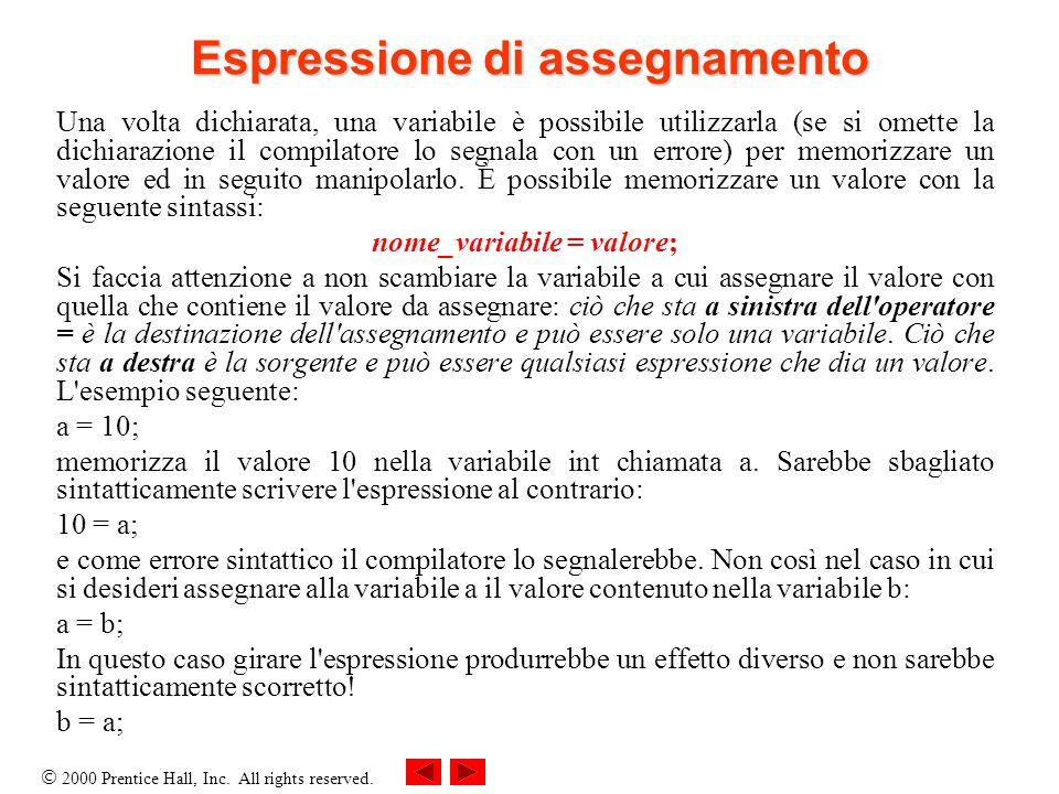 2000 Prentice Hall, Inc. All rights reserved. Espressione di assegnamento Una volta dichiarata, una variabile è possibile utilizzarla (se si omette la