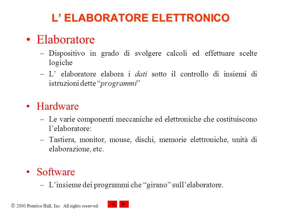 2000 Prentice Hall, Inc. All rights reserved. L ELABORATORE ELETTRONICO Elaboratore –Dispositivo in grado di svolgere calcoli ed effettuare scelte log