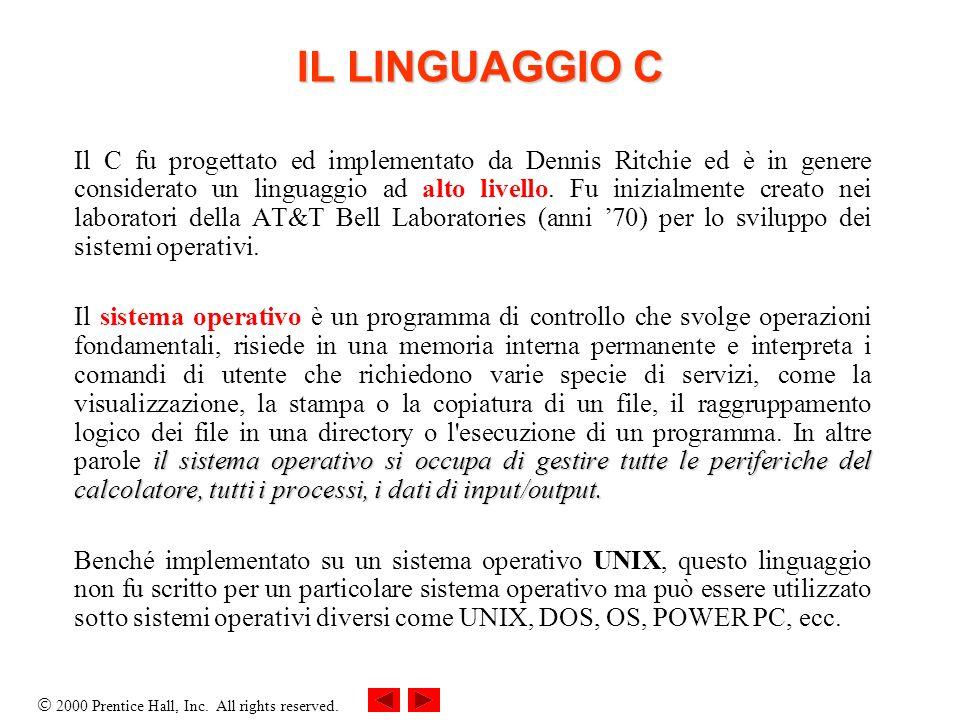 2000 Prentice Hall, Inc. All rights reserved. Il C fu progettato ed implementato da Dennis Ritchie ed è in genere considerato un linguaggio ad alto li