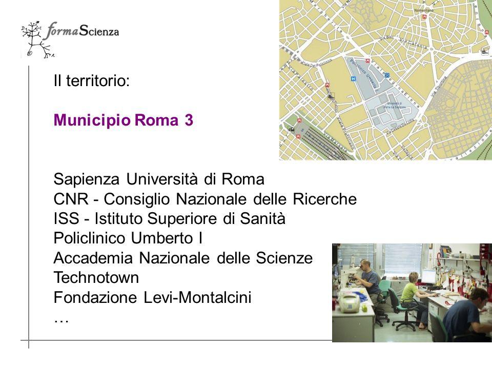 Il territorio: Municipio Roma 3 Sapienza Università di Roma CNR - Consiglio Nazionale delle Ricerche ISS - Istituto Superiore di Sanità Policlinico Umberto I Accademia Nazionale delle Scienze Technotown Fondazione Levi-Montalcini …