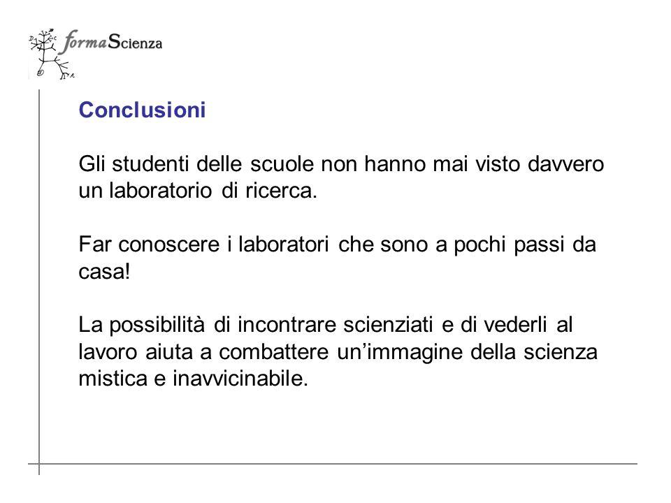 Conclusioni Gli studenti delle scuole non hanno mai visto davvero un laboratorio di ricerca.