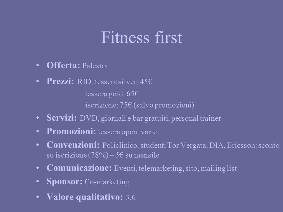 Fitness first Offerta: Palestra Prezzi: RID, tessera silver: 45 tessera gold: 65 iscrizione: 75 (salvo promozioni) Servizi: DVD, giornali e bar gratui