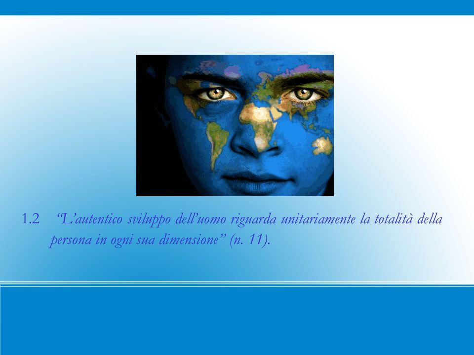 1.2 Lautentico sviluppo delluomo riguarda unitariamente la totalità della persona in ogni sua dimensione (n.
