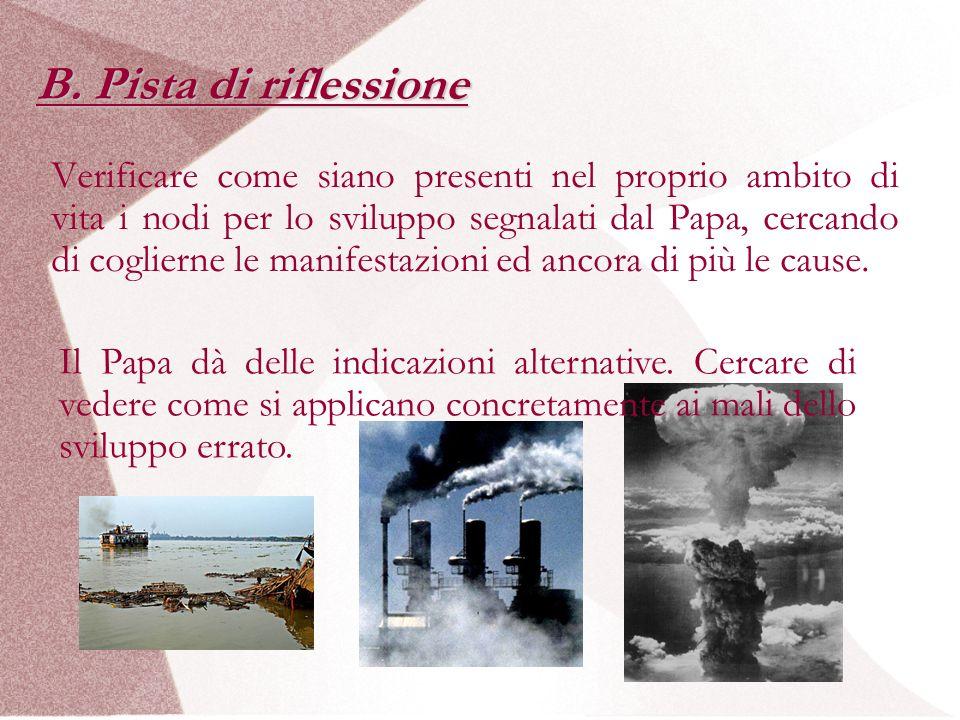B. Pista di riflessione Verificare come siano presenti nel proprio ambito di vita i nodi per lo sviluppo segnalati dal Papa, cercando di coglierne le
