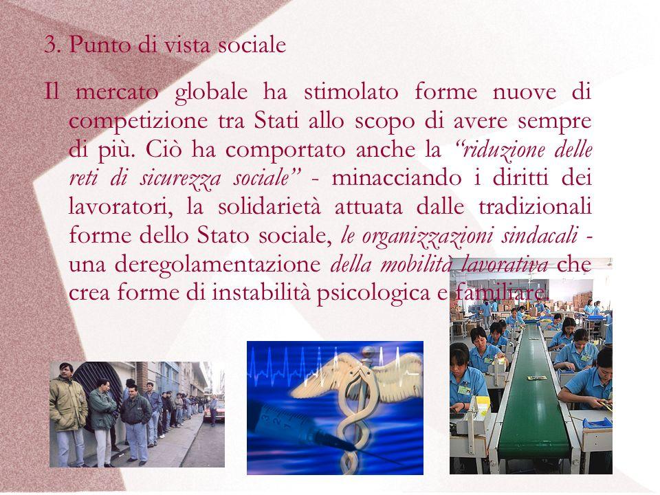 3. Punto di vista sociale Il mercato globale ha stimolato forme nuove di competizione tra Stati allo scopo di avere sempre di più. Ciò ha comportato a