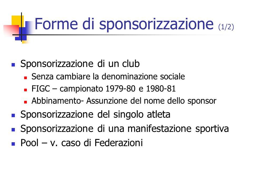 Forme di sponsorizzazione (1/2) Sponsorizzazione di un club Senza cambiare la denominazione sociale FIGC – campionato 1979-80 e 1980-81 Abbinamento- A
