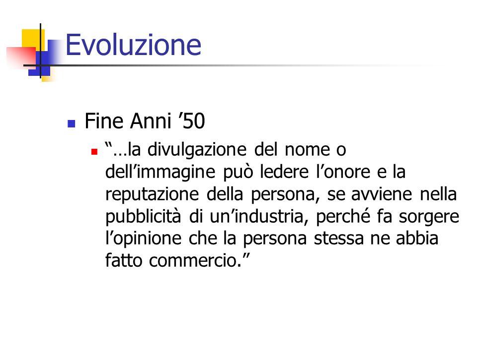 Evoluzione Fine Anni 50 …la divulgazione del nome o dellimmagine può ledere lonore e la reputazione della persona, se avviene nella pubblicità di unin