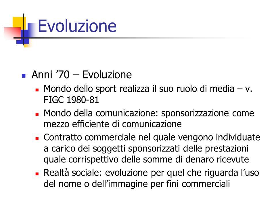 Evoluzione Anni 70 – Evoluzione Mondo dello sport realizza il suo ruolo di media – v. FIGC 1980-81 Mondo della comunicazione: sponsorizzazione come me
