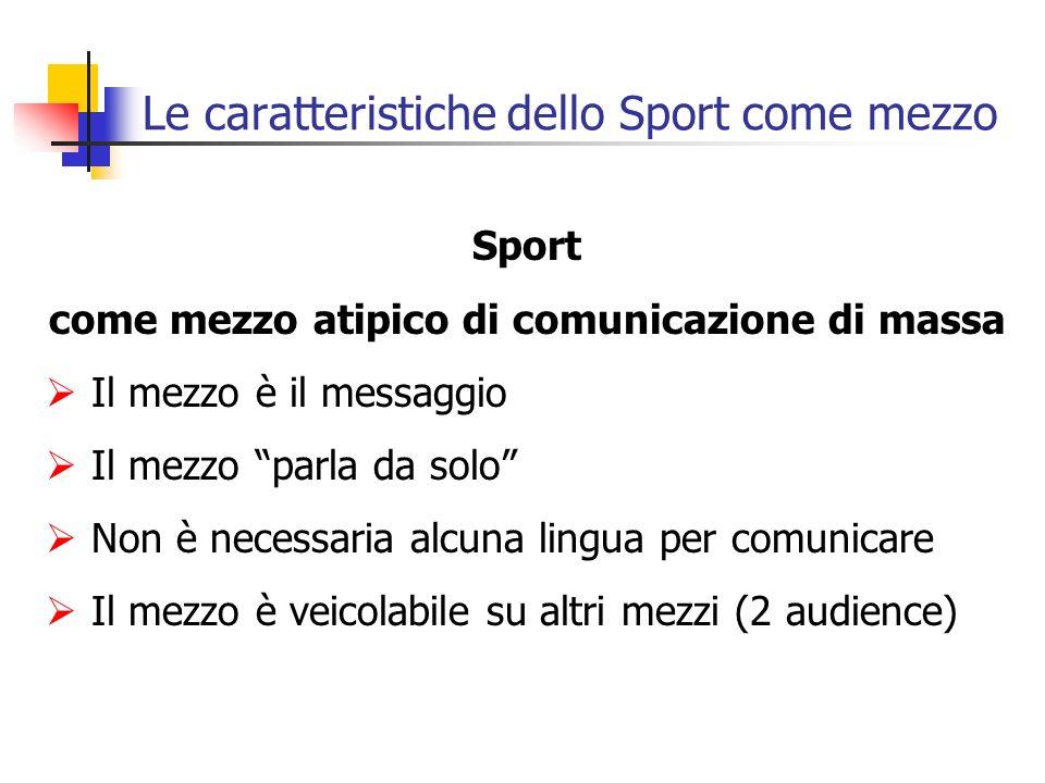 Le caratteristiche dello Sport come mezzo Sport come mezzo atipico di comunicazione di massa Il mezzo è il messaggio Il mezzo parla da solo Non è nece