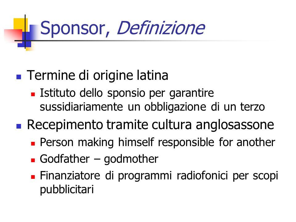 Sponsor, Definizione Termine di origine latina Istituto dello sponsio per garantire sussidiariamente un obbligazione di un terzo Recepimento tramite c