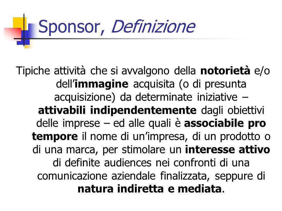 Tipiche attività che si avvalgono della notorietà e/o dellimmagine acquisita (o di presunta acquisizione) da determinate iniziative – attivabili indip