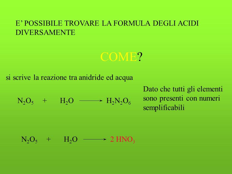 facciamo un esempio acido nitr ico N +3 +5 Desinenza- ICOnumero di ossidazione più alto+5 H +1 N +5 O -2 mettendo un 3 sullossigeno si ha un risultato di elettroneutralità della formula 1x (+1) = +1 3x (-2) = -6 1 x (+5) = +5 totale +6-6 = 0 FORMULA NEUTRA HNO 3