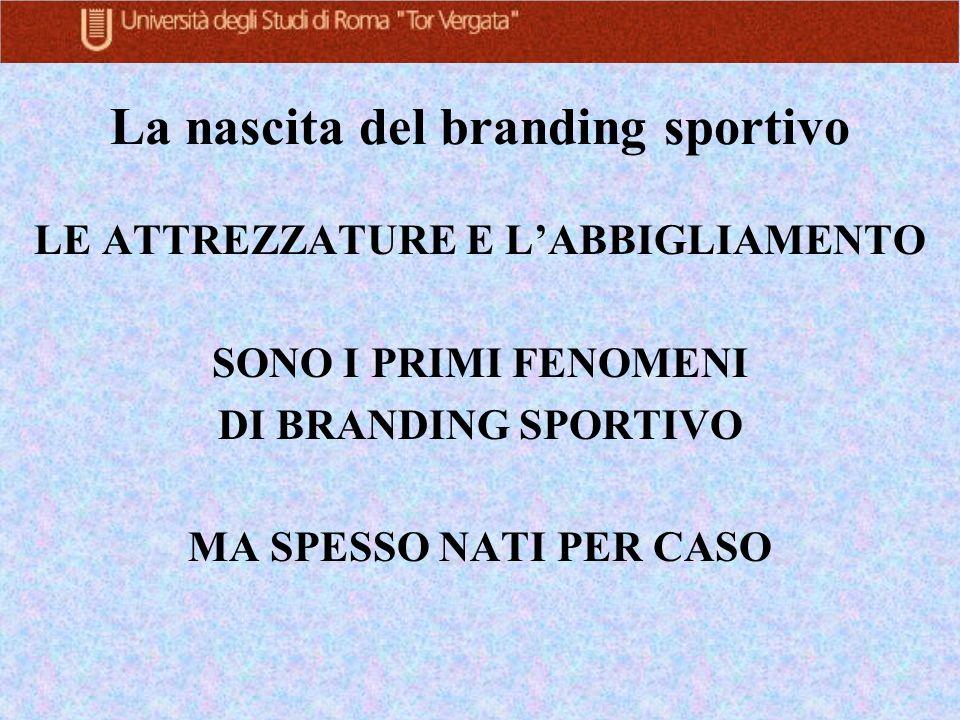 La nascita del branding sportivo LE ATTREZZATURE E LABBIGLIAMENTO SONO I PRIMI FENOMENI DI BRANDING SPORTIVO MA SPESSO NATI PER CASO
