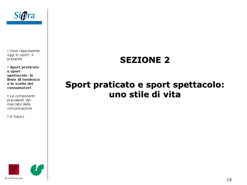 16 SEZIONE 2 Sport praticato e sport spettacolo: uno stile di vita Cosa rappresenta oggi lo sport- il presente Sport praticato e sport spettacolo- le