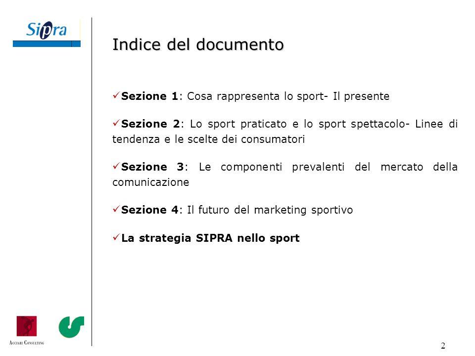 2 Indice del documento Sezione 1: Cosa rappresenta lo sport- Il presente Sezione 2: Lo sport praticato e lo sport spettacolo- Linee di tendenza e le s