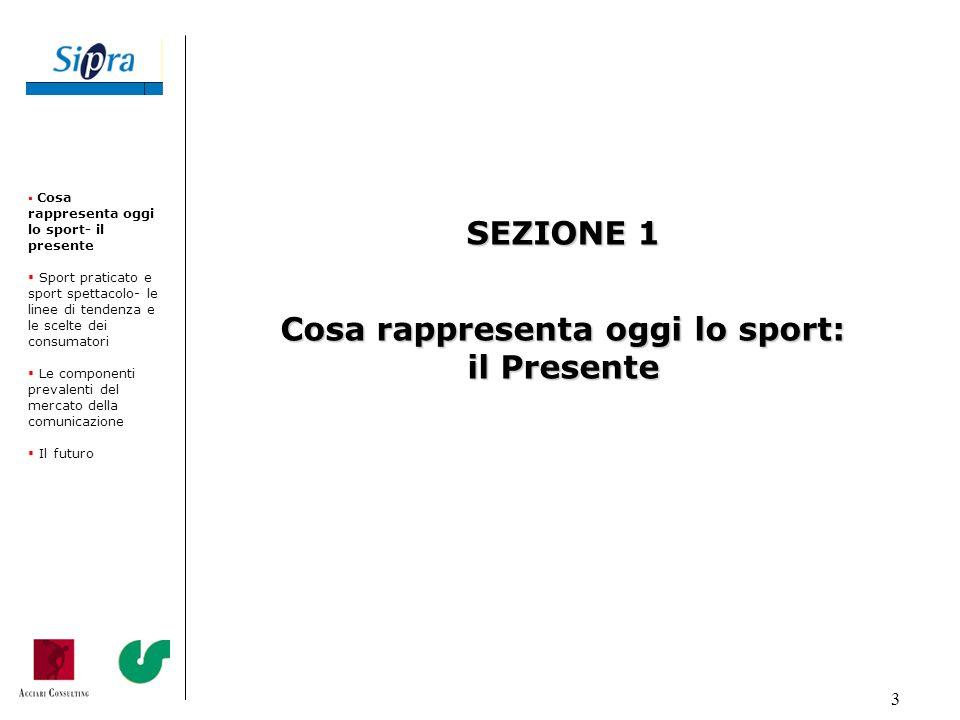 3 Cosa rappresenta oggi lo sport- il presente Sport praticato e sport spettacolo- le linee di tendenza e le scelte dei consumatori Le componenti preva