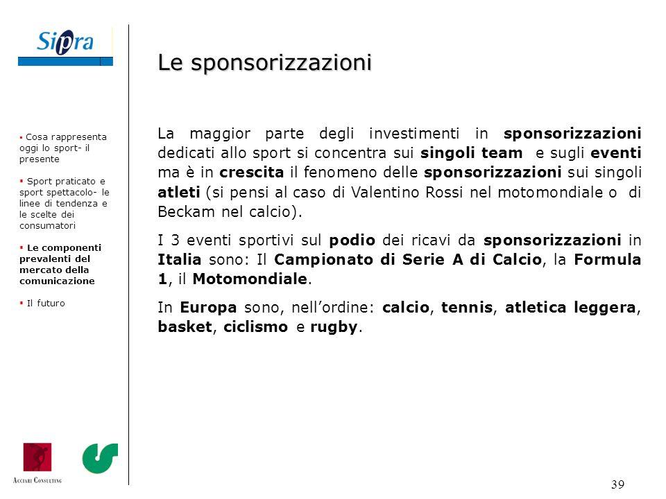 39 La maggior parte degli investimenti in sponsorizzazioni dedicati allo sport si concentra sui singoli team e sugli eventi ma è in crescita il fenome