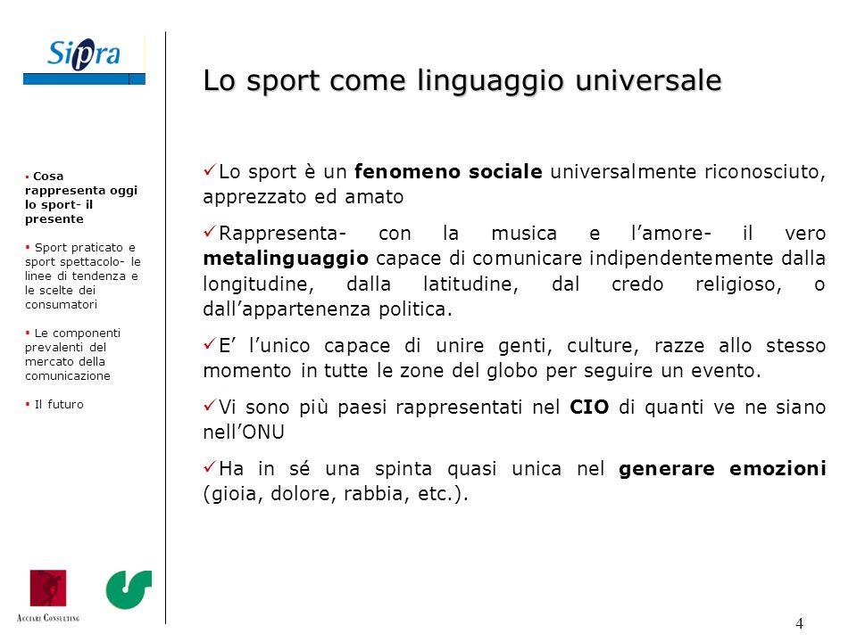 4 Lo sport è un fenomeno sociale universalmente riconosciuto, apprezzato ed amato Rappresenta- con la musica e lamore- il vero metalinguaggio capace d