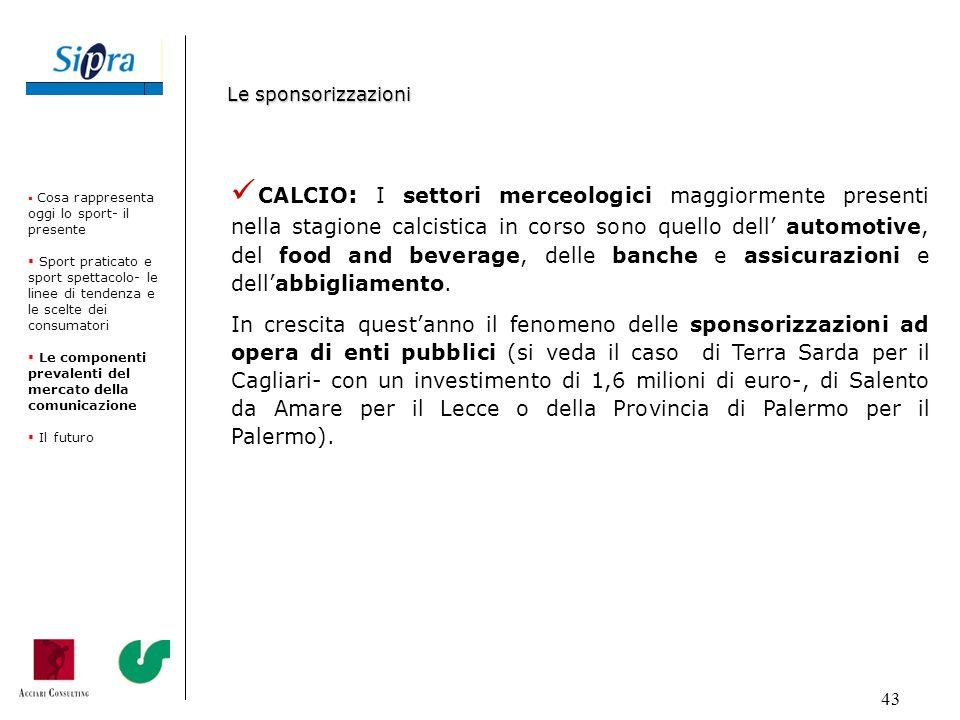 43 Le sponsorizzazioni CALCIO : I settori merceologici maggiormente presenti nella stagione calcistica in corso sono quello dell automotive, del food