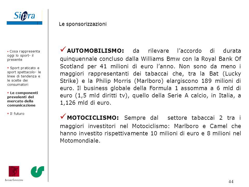 44 AUTOMOBILISMO : da rilevare laccordo di durata quinquennale concluso dalla Williams Bmw con la Royal Bank Of Scotland per 41 milioni di euro lanno.