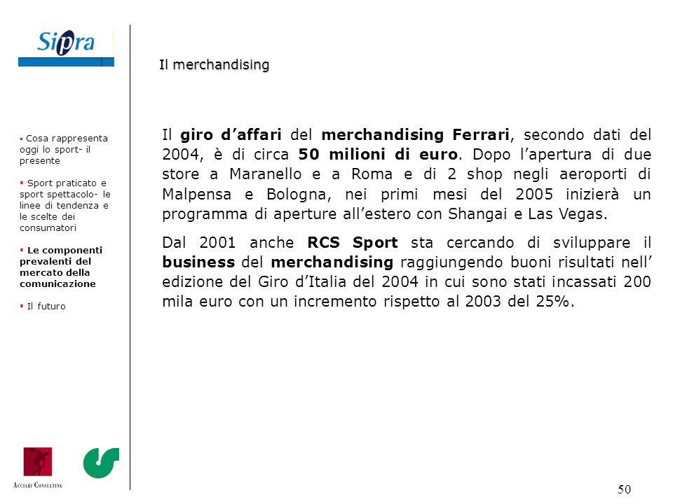 50 Il giro daffari del merchandising Ferrari, secondo dati del 2004, è di circa 50 milioni di euro. Dopo lapertura di due store a Maranello e a Roma e
