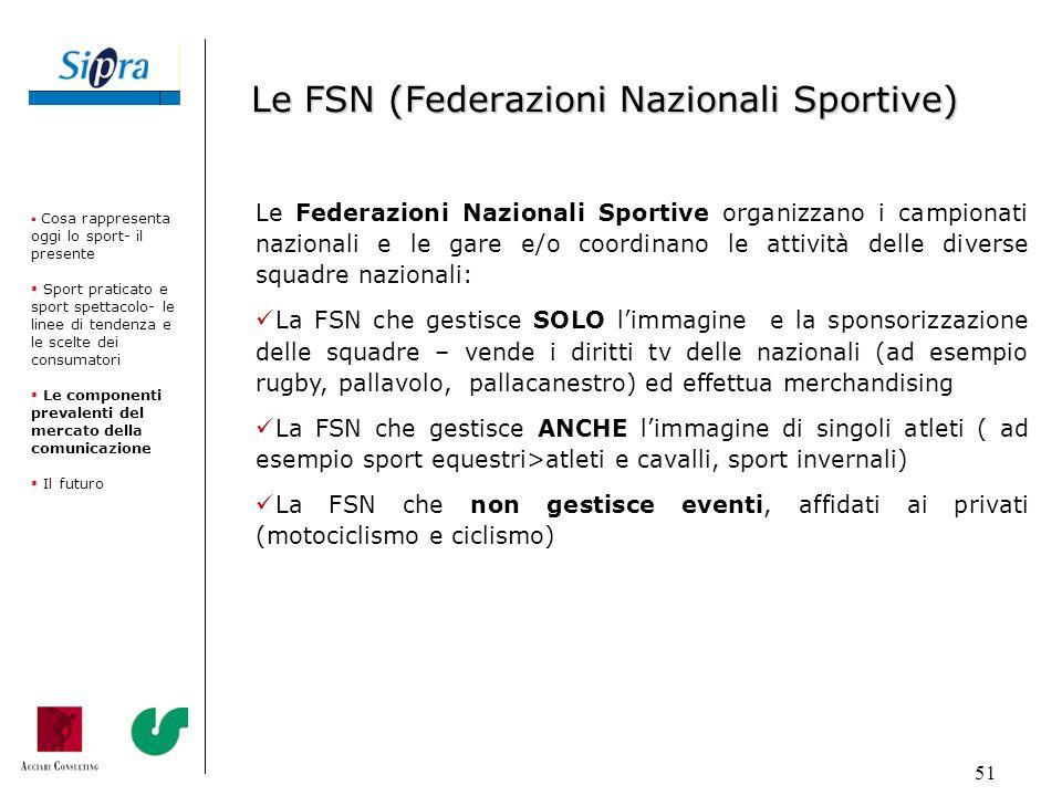 51 Le Federazioni Nazionali Sportive organizzano i campionati nazionali e le gare e/o coordinano le attività delle diverse squadre nazionali: La FSN c