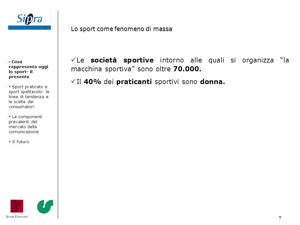 38 SPORT Valore dei diritti tv (in milioni di euro) Calcio (Squadre, Champions League, Nazionale etc.) 800 Formula 125 Basket (Lega A1 maschile e A2 femminile)1,1 Pallavolo (Lega A1 e A2 maschile e A1 femminile) 2,0 Rugby (Torneo 6 Nazioni)0,75 Ciclismo (Giro dItalia)9,5 Nazionali ed eventi gestiti dalle FSN (non conteggiati precedentemente) 9,0 Motociclismo 10 (stime) Altri 5,0 (stime) Totale 862 Tabella 3: Il mercato dei diritti tv in sintesi Cosa rappresenta oggi lo sport- il presente Sport praticato e sport spettacolo- le linee di tendenza e le scelte dei consumatori Le componenti prevalenti del mercato della comunicazione Il futuro I diritti televisivi