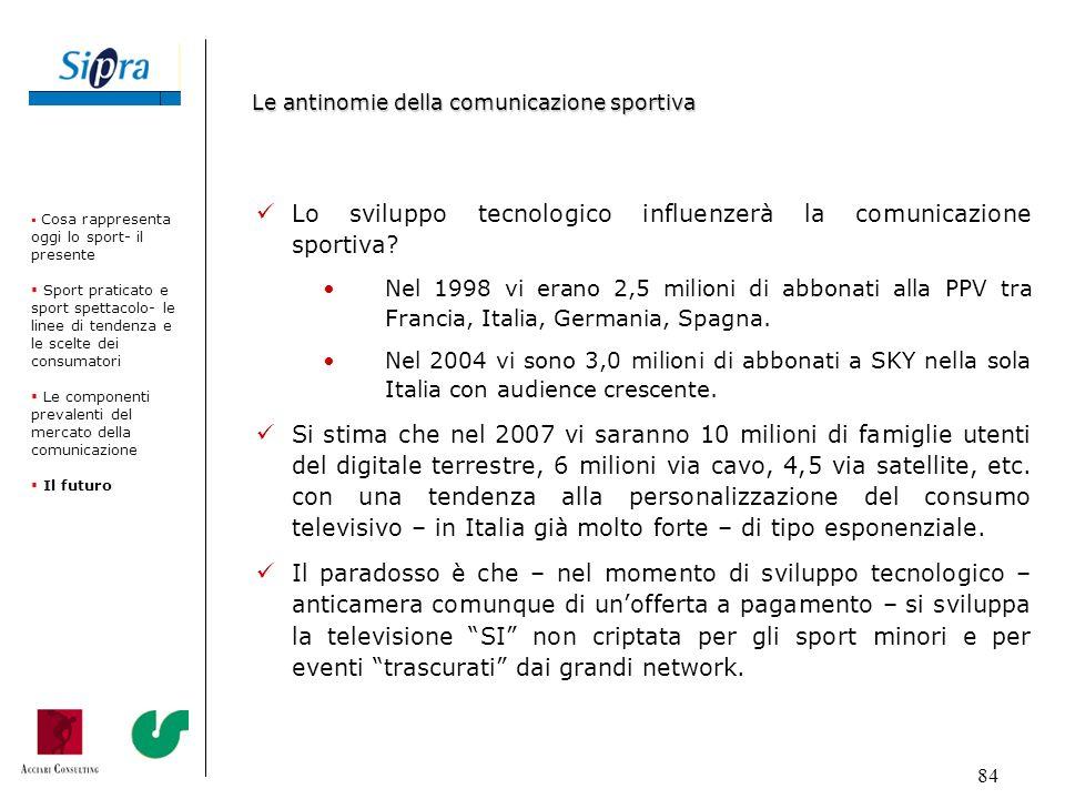 84 Lo sviluppo tecnologico influenzerà la comunicazione sportiva? Nel 1998 vi erano 2,5 milioni di abbonati alla PPV tra Francia, Italia, Germania, Sp