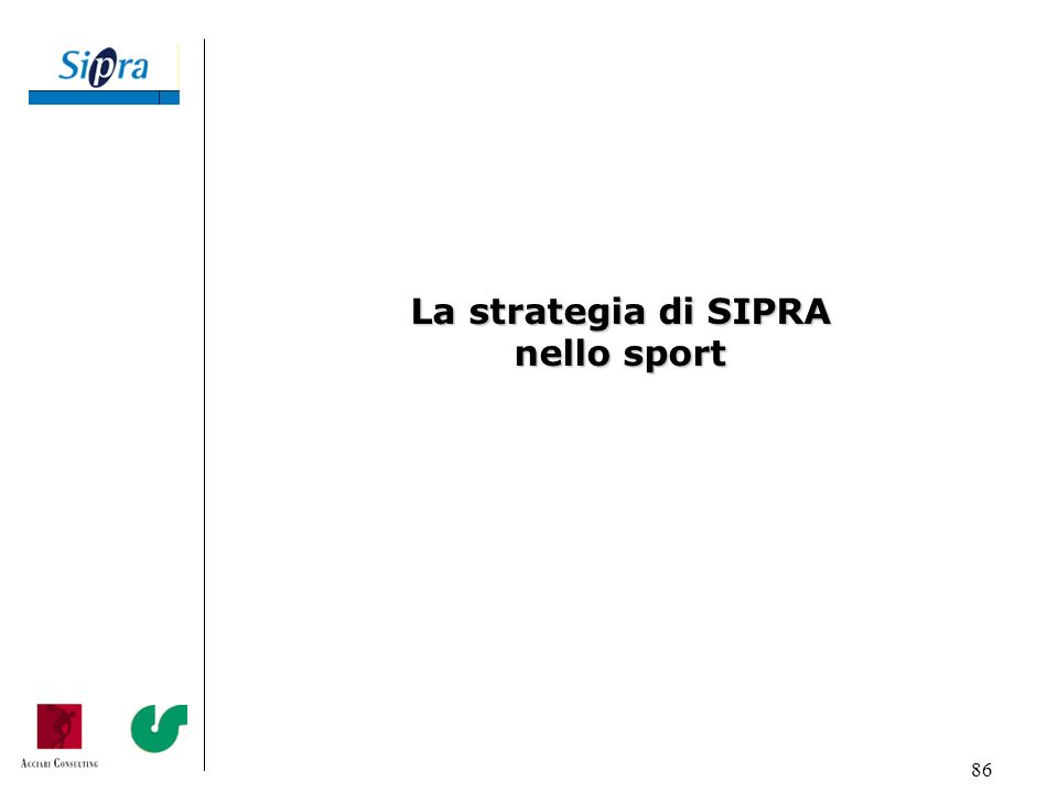 86 La strategia di SIPRA nello sport