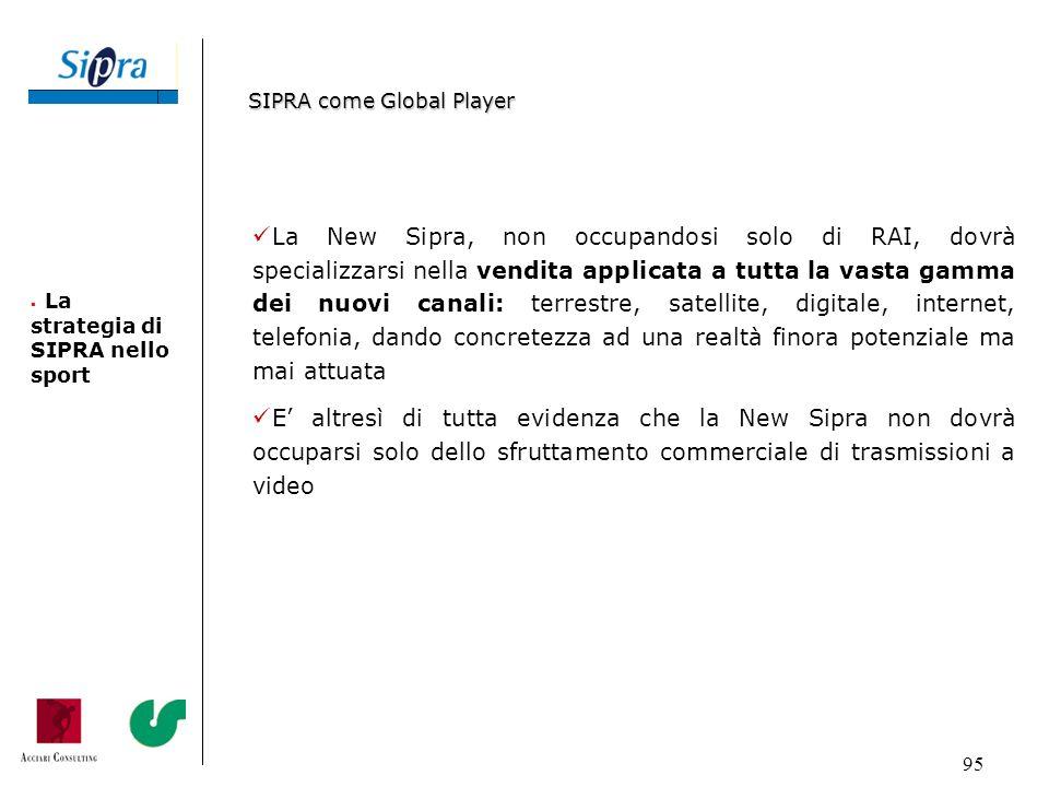 95 La New Sipra, non occupandosi solo di RAI, dovrà specializzarsi nella vendita applicata a tutta la vasta gamma dei nuovi canali: terrestre, satelli
