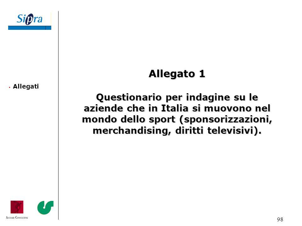 98 Allegati Allegato 1 Questionario per indagine su le aziende che in Italia si muovono nel mondo dello sport (sponsorizzazioni, merchandising, diritt