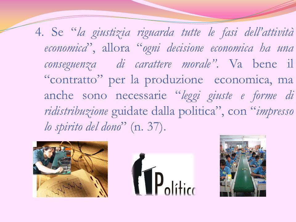 4. Se la giustizia riguarda tutte le fasi dellattività economica, allora ogni decisione economica ha una conseguenza di carattere morale. Va bene il c
