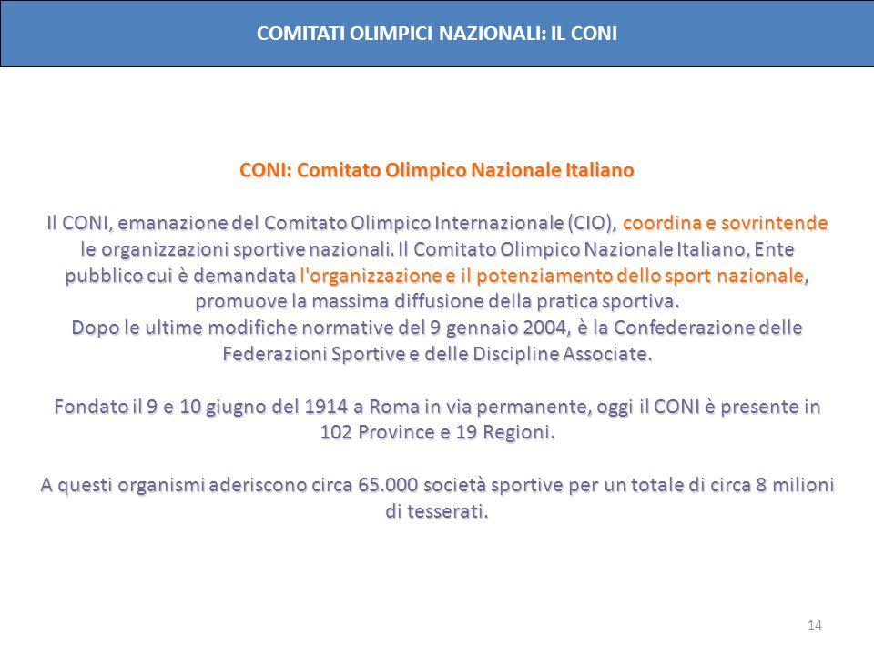 14 COMITATI OLIMPICI NAZIONALI: IL CONI CONI: Comitato Olimpico Nazionale Italiano Il CONI, emanazione del Comitato Olimpico Internazionale (CIO), coo