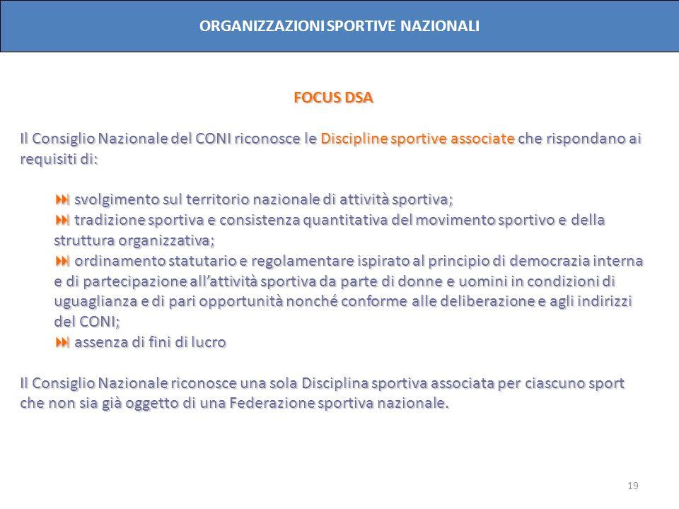 19 ORGANIZZAZIONI SPORTIVE NAZIONALI FOCUS DSA Il Consiglio Nazionale del CONI riconosce le Discipline sportive associate che rispondano ai requisiti
