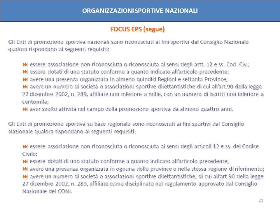 21 ORGANIZZAZIONI SPORTIVE NAZIONALI FOCUS EPS (segue) Gli Enti di promozione sportiva nazionali sono riconosciuti ai fini sportivi dal Consiglio Nazi
