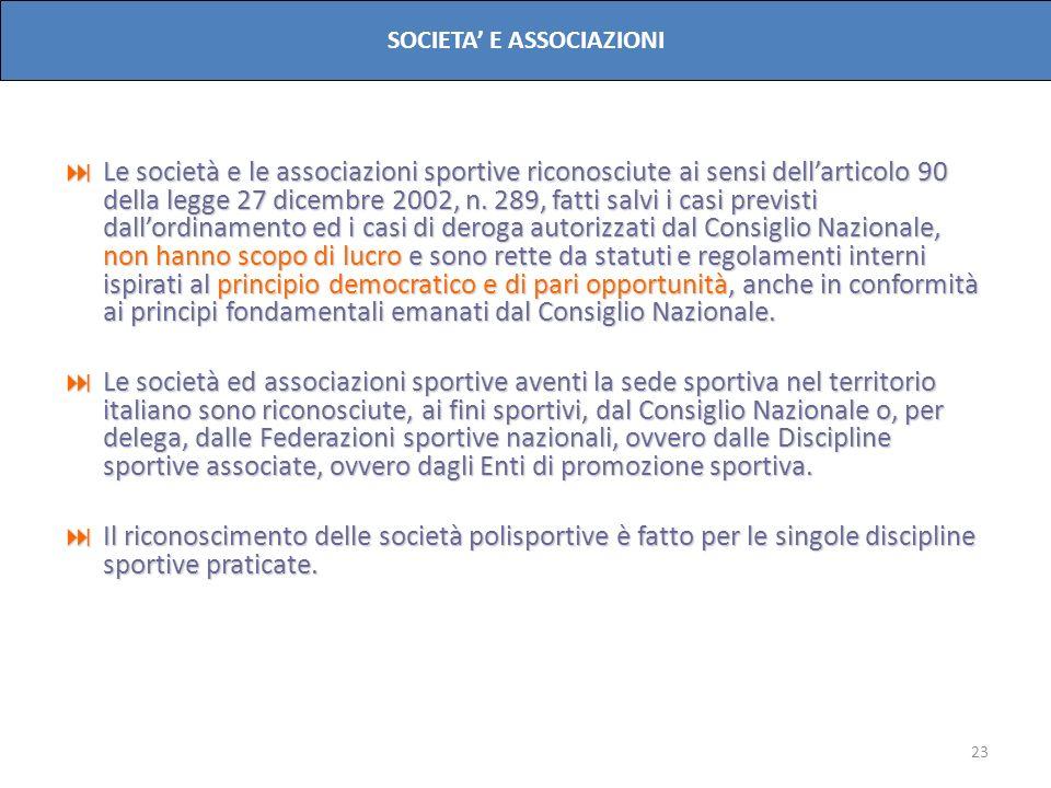 23 SOCIETA E ASSOCIAZIONI Le società e le associazioni sportive riconosciute ai sensi dellarticolo 90 della legge 27 dicembre 2002, n. 289, fatti salv