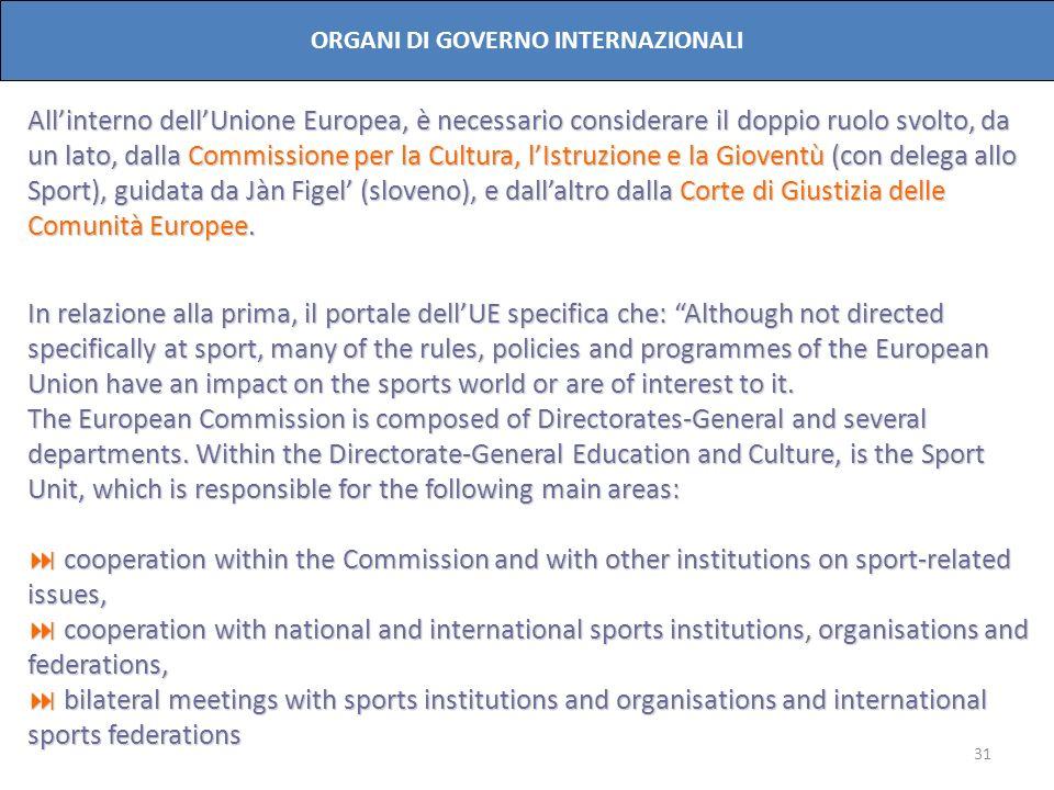 31 ORGANI DI GOVERNO INTERNAZIONALI Allinterno dellUnione Europea, è necessario considerare il doppio ruolo svolto, da un lato, dalla Commissione per