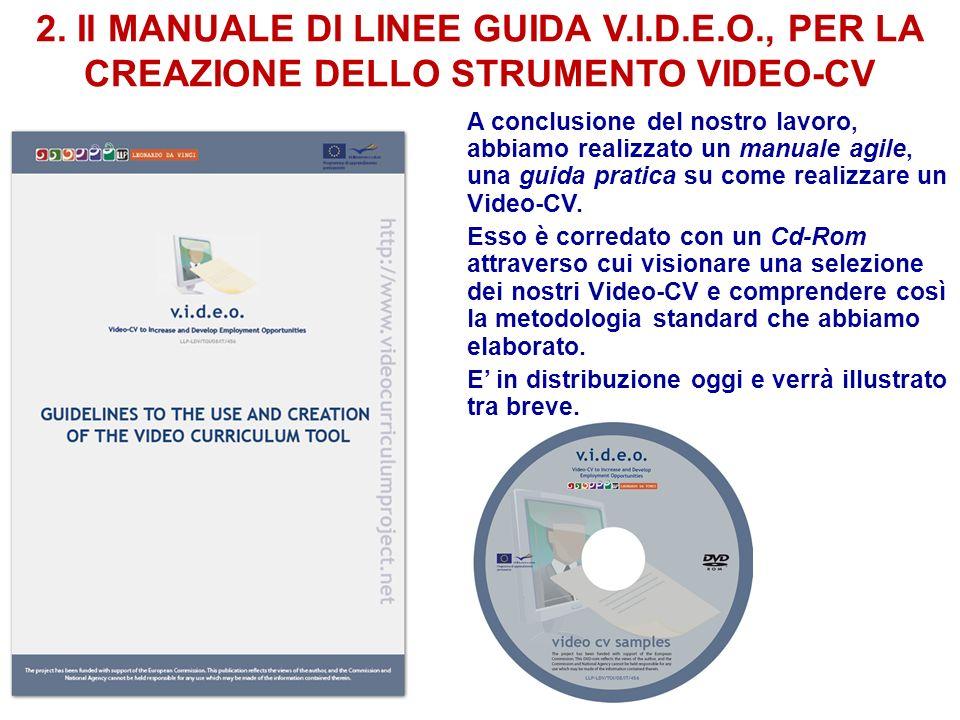 2. Il MANUALE DI LINEE GUIDA V.I.D.E.O., PER LA CREAZIONE DELLO STRUMENTO VIDEO-CV A conclusione del nostro lavoro, abbiamo realizzato un manuale agil