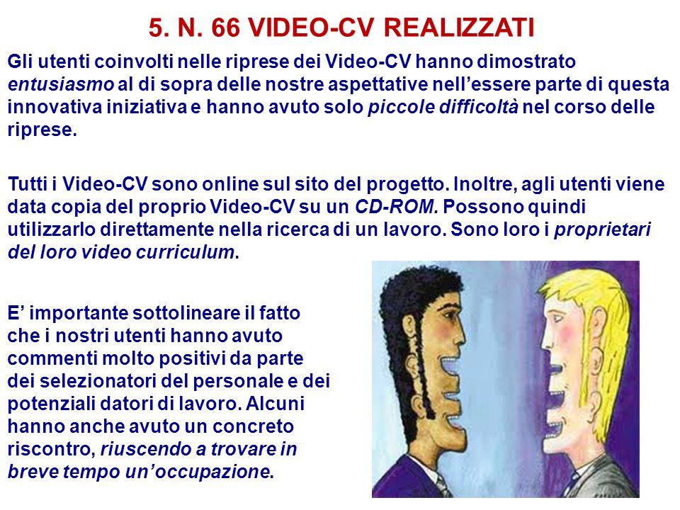5. N. 66 VIDEO-CV REALIZZATI Gli utenti coinvolti nelle riprese dei Video-CV hanno dimostrato entusiasmo al di sopra delle nostre aspettative nellesse