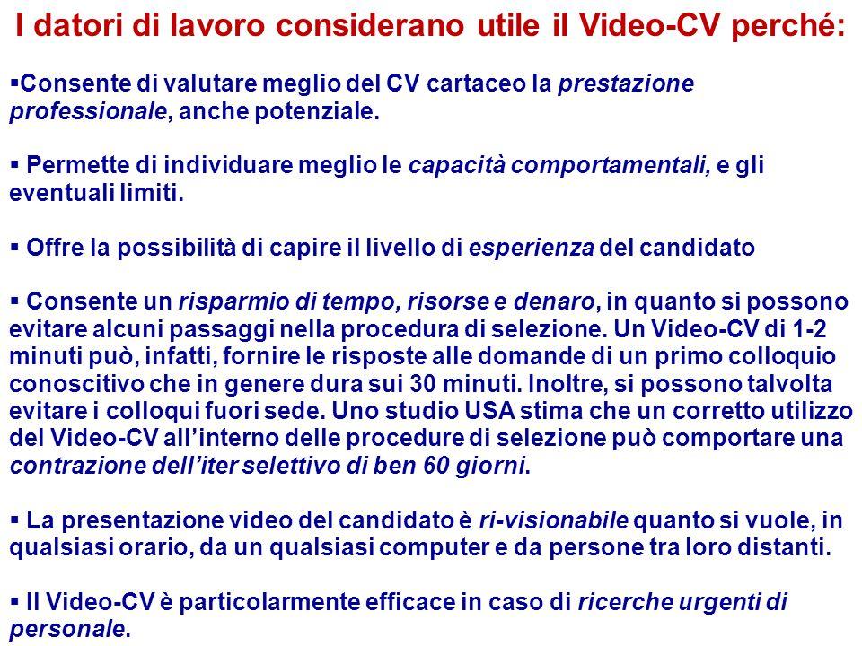 I datori di lavoro considerano utile il Video-CV perché: Consente di valutare meglio del CV cartaceo la prestazione professionale, anche potenziale. P