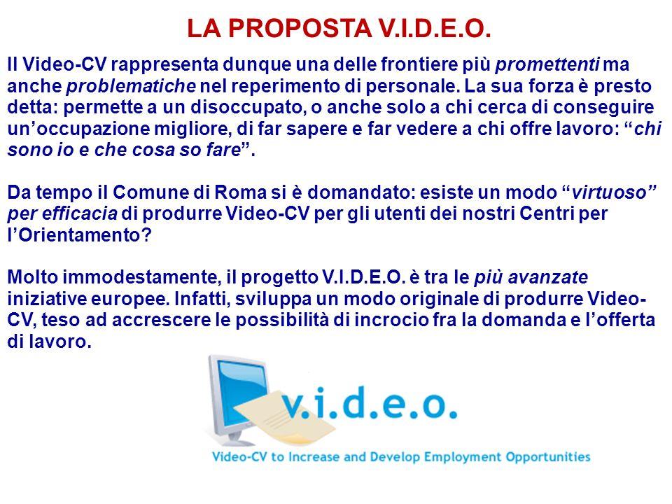 LA PROPOSTA V.I.D.E.O. Il Video-CV rappresenta dunque una delle frontiere più promettenti ma anche problematiche nel reperimento di personale. La sua