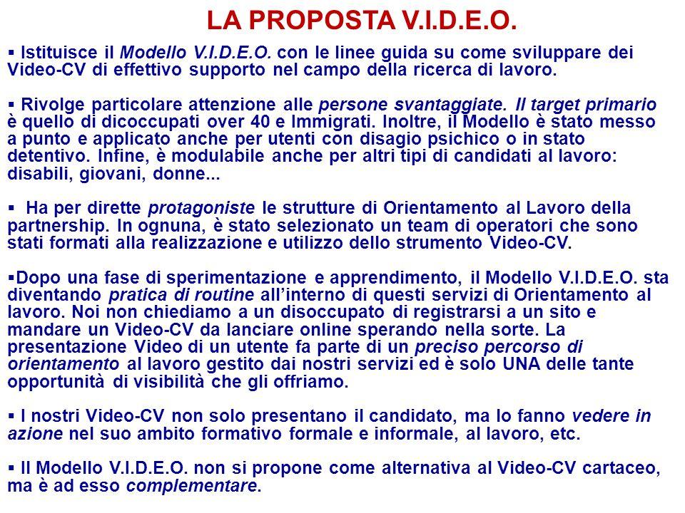 LA PROPOSTA V.I.D.E.O. Istituisce il Modello V.I.D.E.O. con le linee guida su come sviluppare dei Video-CV di effettivo supporto nel campo della ricer
