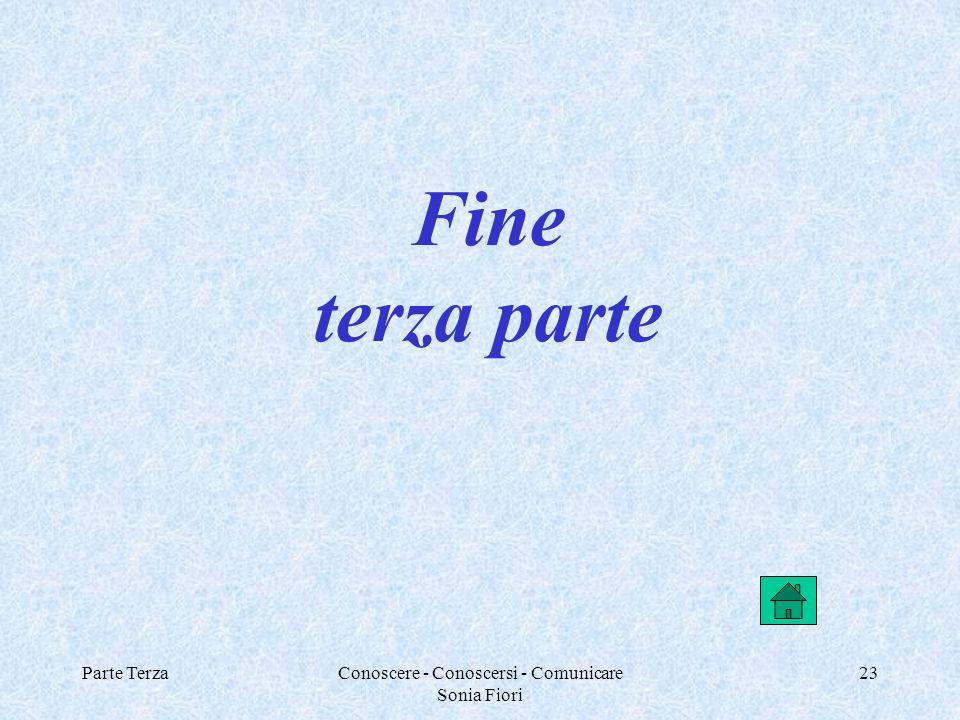 Parte TerzaConoscere - Conoscersi - Comunicare Sonia Fiori 23 Fine terza parte