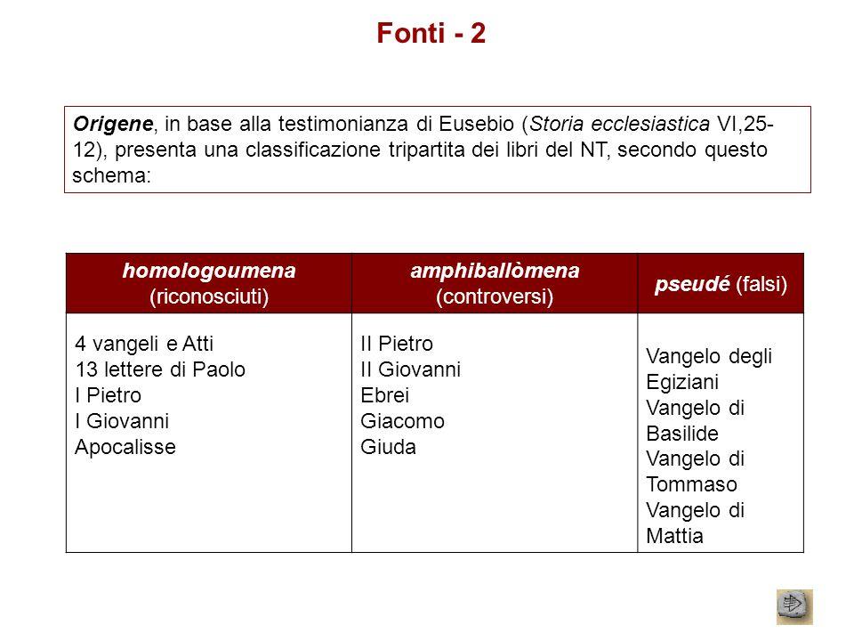 Fonti - 2 Origene, in base alla testimonianza di Eusebio (Storia ecclesiastica VI,25- 12), presenta una classificazione tripartita dei libri del NT, s