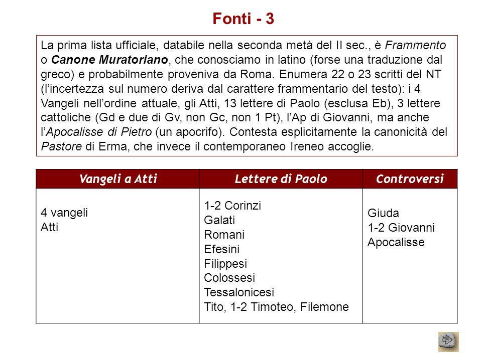 Fonti - 3 La prima lista ufficiale, databile nella seconda metà del II sec., è Frammento o Canone Muratoriano, che conosciamo in latino (forse una tra