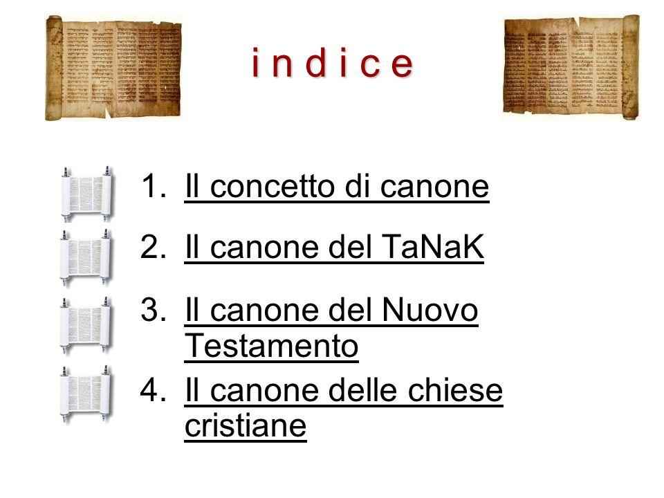 i n d i c e 1.Il concetto di canoneIl concetto di canone 2.Il canone del TaNaKIl canone del TaNaK 3.Il canone del Nuovo TestamentoIl canone del Nuovo
